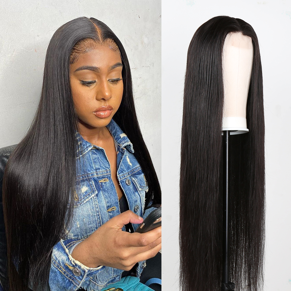 Rosabeauty Straight 13X4 Lace Front Human Hair Wigs Brazilian Virgin Remy Hair Black Women PrePlucked 28 30Inch 360 Frontal Wigs