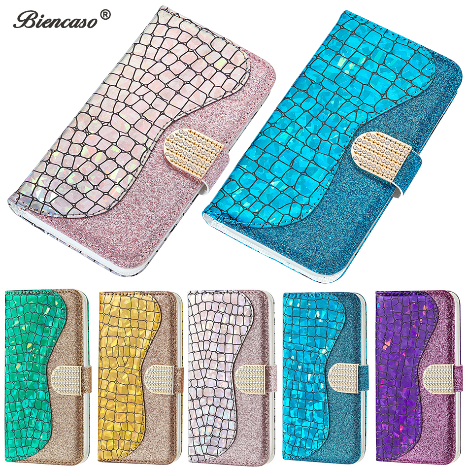 Laser Powder Wallet <font><b>Flip</b></font> <font><b>Case</b></font> For <font><b>Huawei</b></font> P30 Lite P20 P Smart Y5 2018 Y6 2019 <font><b>Honor</b></font> 8A <font><b>7S</b></font> Mate 20 Lite Nova 3i Glitter Cover image
