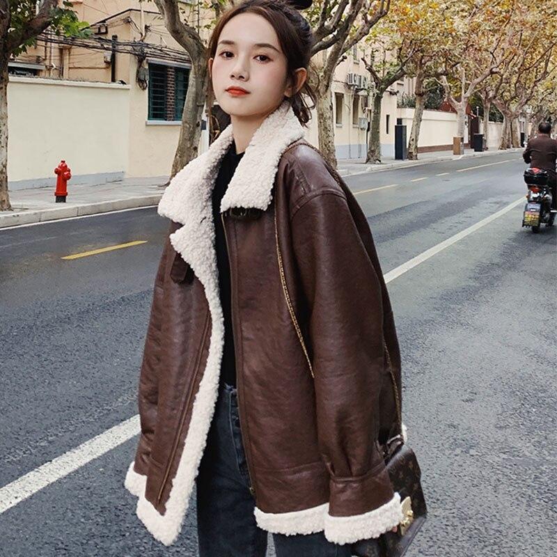 Autumn Winter Zipper MotoBike Thick Warm Faux Lambs Wool Fur Collar Faux Fur Leather Jacket Women Outerwear