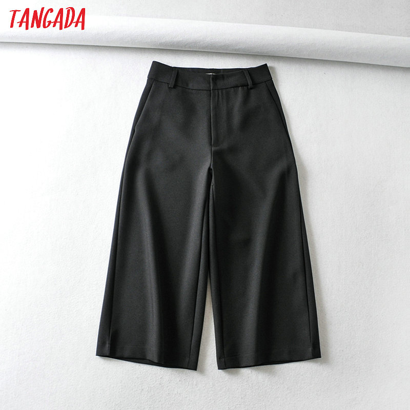 Women Elegant Black Cropped Pants Pocket Side Zipper Pockets Female Retro Basic Office Lady Pants Pantalones 6A109