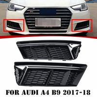Pair SILVER STANDARD Front Bumper Lower Fog Light Grille Cover For Audi A4 B9 2017 18
