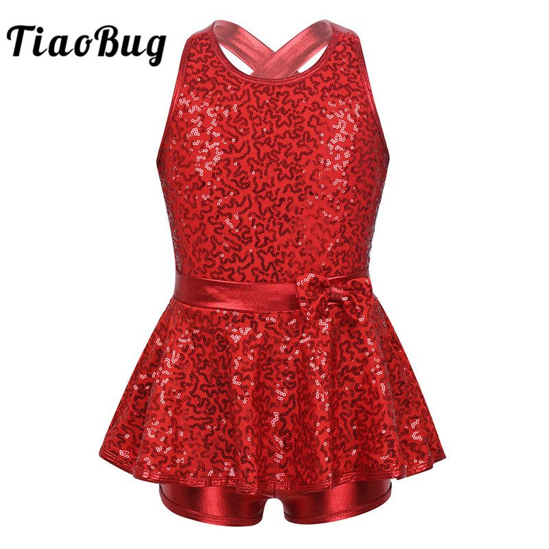 TiaoBug Kids Sleeveless Sequined Dancewear Gymnastics Leotard Girls Ballet Figure Skating Dress Modern Rave Jazz Dance Costume