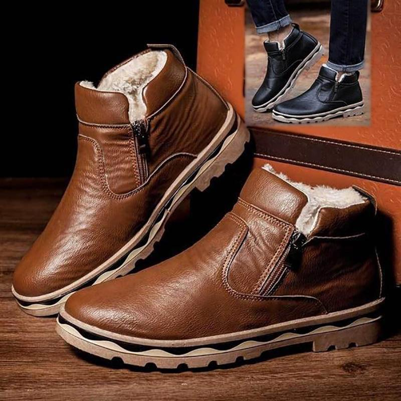 Men Fur Cotton Ankle Boots Casual Plush Leather Super Warm Snow Boots Fashion Zipper Flats Shoes Non-Slip Winter Boots