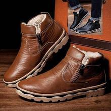 Men Fur Cotton Ankle Boots Casual Plush Leather Super Warm Snow Boots Fashion Zi