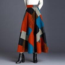 طباعة النساء الصوف ماكسي تنورة أزياء الشتاء عالية الخصر الدافئة الصوف التنانير السيدات عارضة مرونة الخصر ألف خط تنورة طويلة الإناث