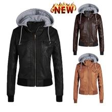 2021 New Fashion Women Hoodies Autumn Winter Black Faux Leather Jackets Zipper Basic Coat Biker Jacket Pockets