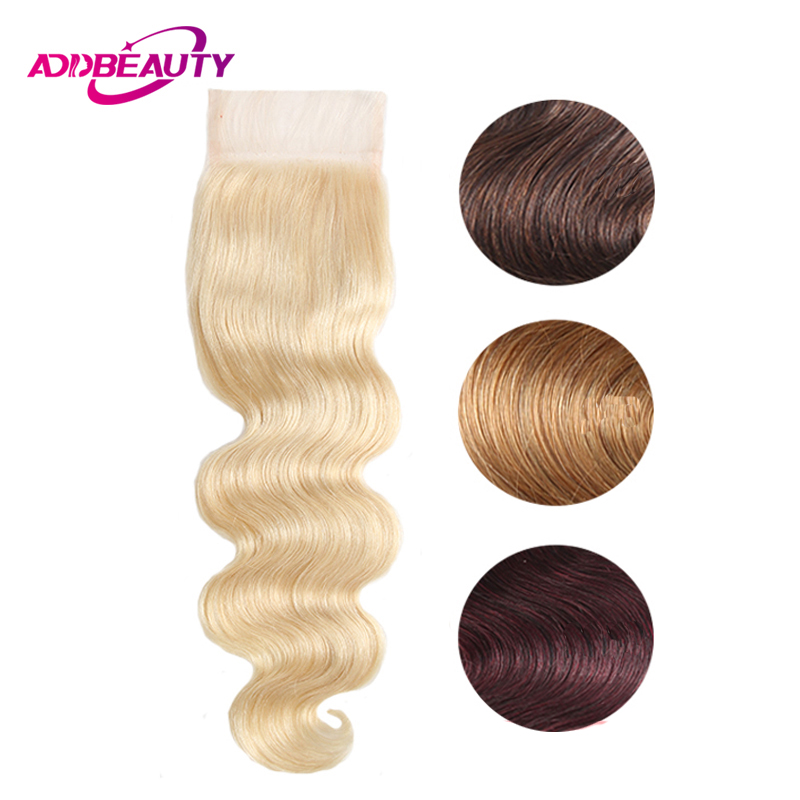 4x4 Lace Closure Honey Blonde 613 Brown Wine Dark Red 99j 27 4 Color Body Wave Remy Brazilian Human Baby Hair Free Middle Part