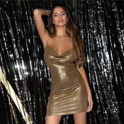 COLROVIE Rhinestone Shoulder Strap Criss Cross Back Glitter Dress Women Spaghetti Strap Party Gold Glamorous Pencil Mini Dresses