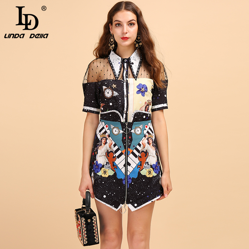 LD LINDA DELLA Fashion Runway Summer Suit Women's Short Sleeve Mesh Splice Shirt And Character Printed Skirt Two Pieces Lady Set