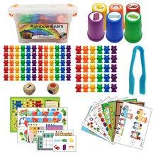 Rainbow Contando Ursos Brinquedos Montessori Combinando com Classificação Copos Jogo de Matemática Da Criança Kids Preschool Educacional Brinquedos para As Crianças