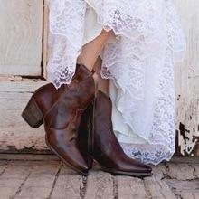Oeak 2019 New Fashion Vintage Women Boots Low Heels Buckle Cowboy Mid-Calf Casual Platform Shoes Plus Size 35-43