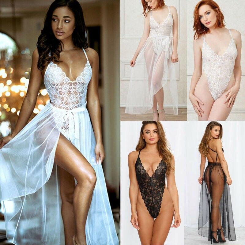 Sexy Lace Lingerie Elegant Women New Ultrathin Gauze Sheer Homewear Long Dress Vintage Nightgowns Night Sleepwear Intimates