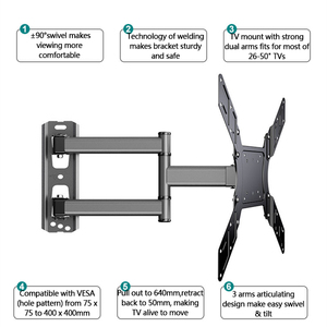 """Image 4 - TV Wall Mount Swivel Tilt Bracket for 26 50"""" LED Flat Screen Monitor VESA 400x400 with Full Motion Articulating Extension Arm"""