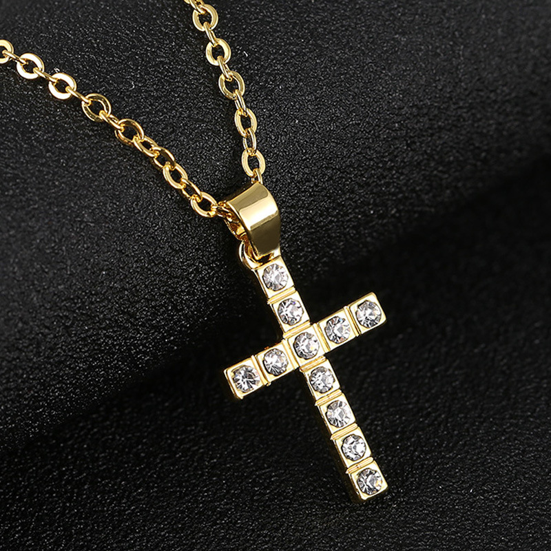 Crystal Cross Pendant Choker Necklace Jesus Vintage Rhinestone Link Chain Necklaces Charm Christian Couple Jewelry