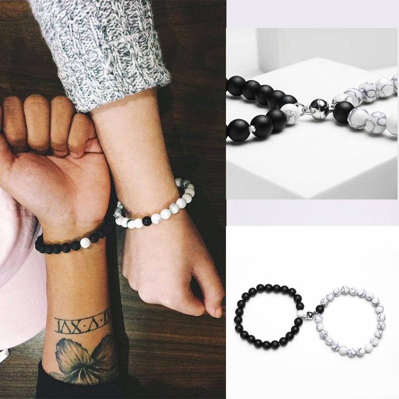 2 шт пара браслет для женщин любовь дружба бисера расстояние магнитные браслеты парные ювелирные изделия Инь-Янь