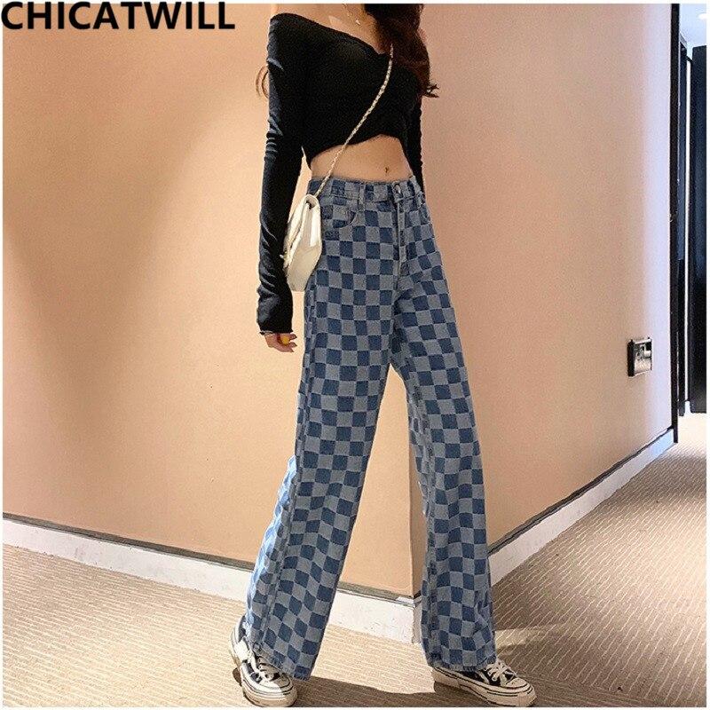Harajuku BF High Waist Pocket Wide Leg Plaid Denim Jeans Women England Checker Jacquard Jeans Casual Europe Boyfriend Trousers