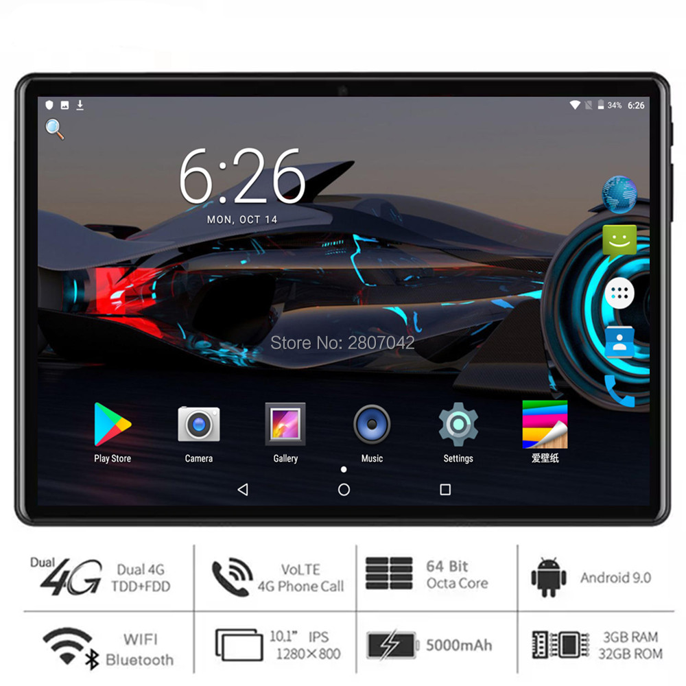 2020 New 10 Inch Tablet Octa Core RAM 3G+32GB ROM Fast CPU Dual Cameras 5MP Android 9 Pie GPS WIFI Bluetooth Pad Free Gifts