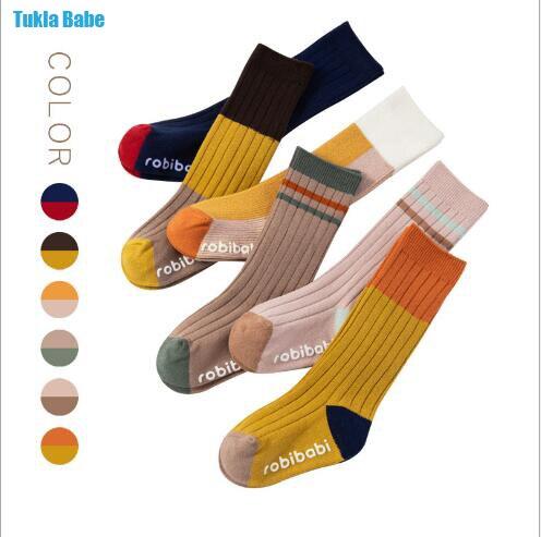 0-3 Year Baby newborn socks boy girl autumn winter new vertical striped children's socks multicolor double needle tube socks
