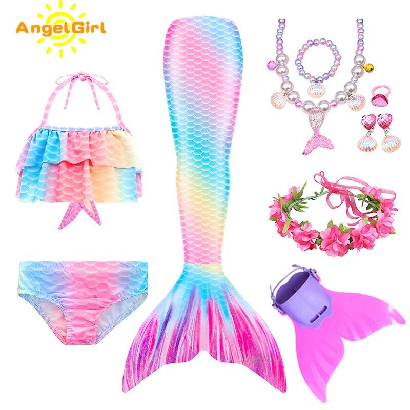 AngelGirl 2020 Swimmable Meerjungfrau Schwanz kinder mit Flipper Mädchen Meerjungfrau Badeanzug Kinder Meerjungfrau Urlaub Strand Cosplay Kostüm