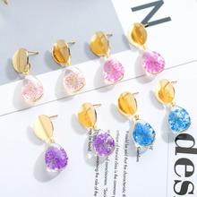 Fashion Ladies Dried Flower Dangle Earrings For Women Water Drop Shape Glass Earring Female Gold Round Metal Earrings Jewelry цена 2017