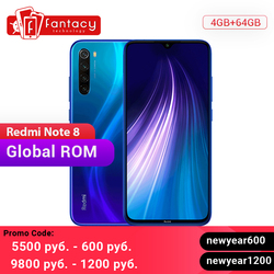 Nieuwe Global ROM Xiaomi Redmi Note 8 4GB 64GB 48MP Quad Camera Smartphone Snapdragon 665 Octa Core 6.3 FHD Screen 4000mAh