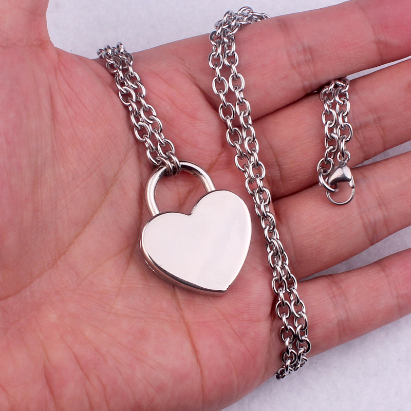 H2151394a730d43a6b3e9298c9cbe48fax - New layered chains hiphop Punk Stainless Steel Padlock Necklace men rock heart Lock with key Necklaces for women