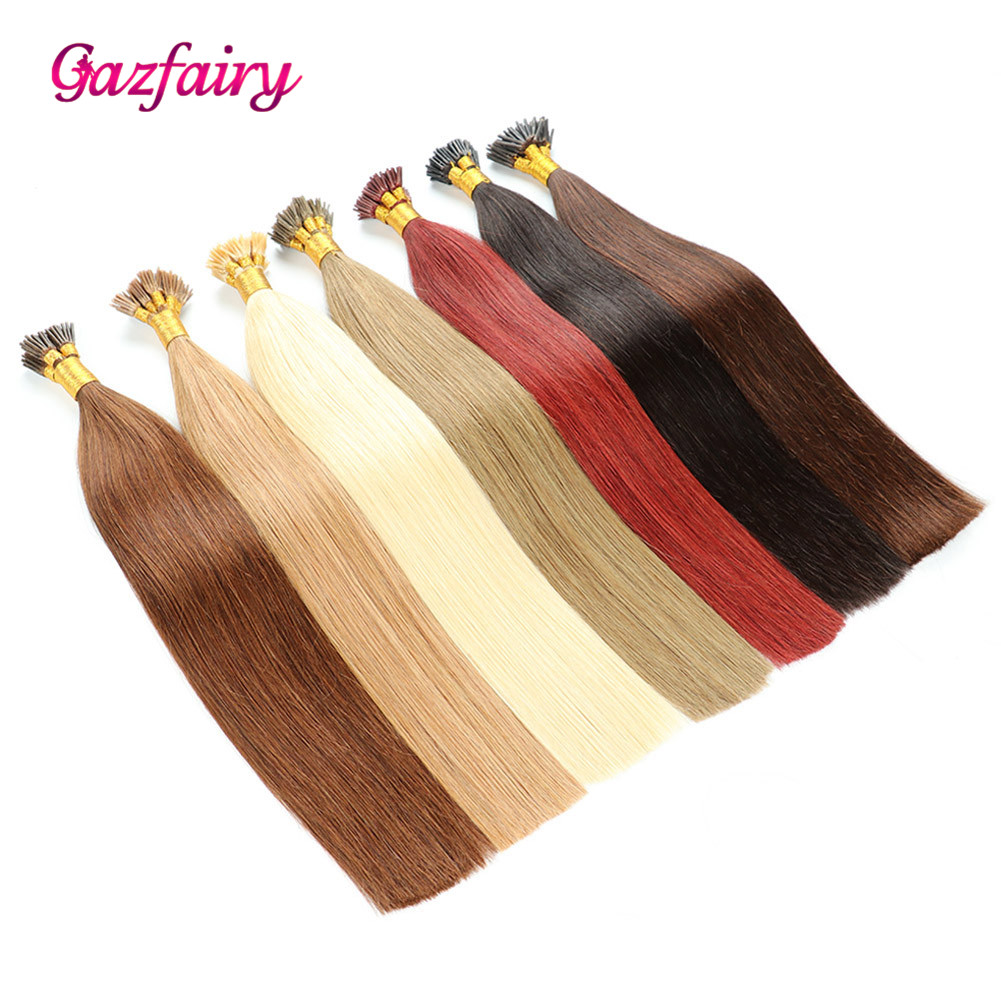 Gazfairy I Tip Keratin Pre Bonded Hair Extensions 100% Real Remy Human Hair On The Capsule Fusion Hair 1g/s 16-22 Inch 50g 100g