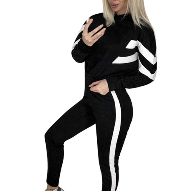 Women Ladies Tracksuit Stripe Sport Casual Long Sleeve Short Hooded Pullover Sweatshirt Pants Set Autumn Winter