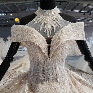 Image 5 - HTL1082 ball gown wedding dress luxury crystal high neck off shoulder bride dress gown plus size swollen tiktok weddind dress