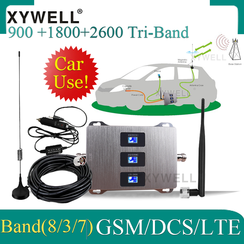 Car Use 900/1800/2600 Tri-Band Cellular Amplifier 4G GSM DCS LTE 2G 3G 4G Signal Repeater GSM Mobile Signal Booster In Car