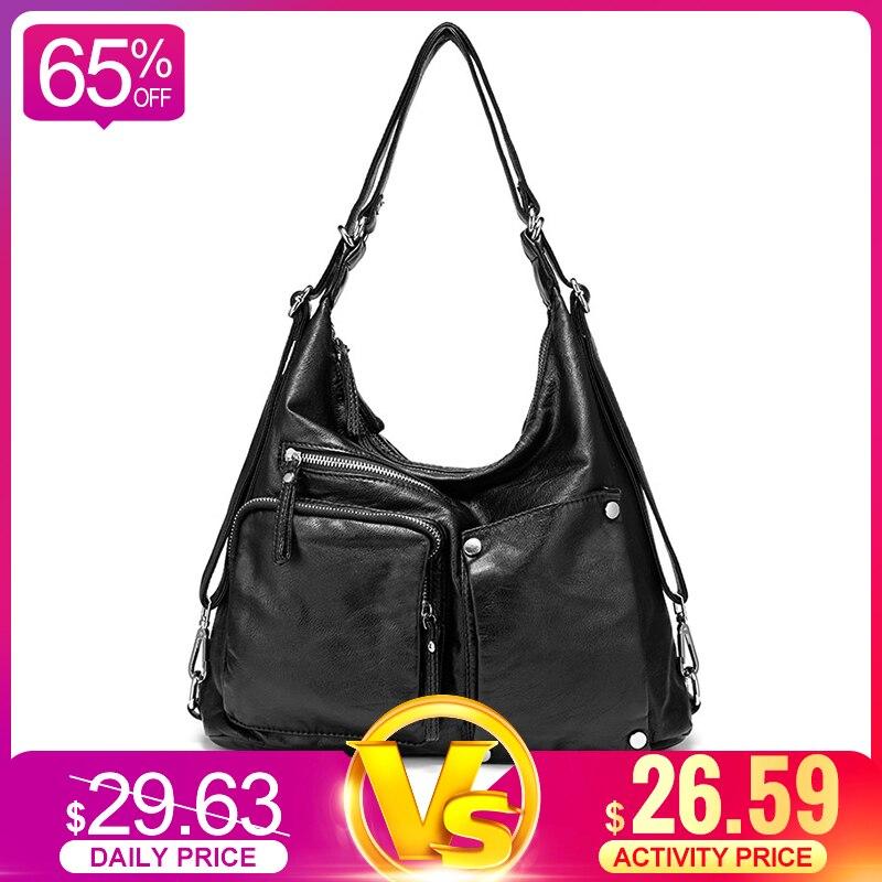 REALER Women Handbag Large Capacity Shoulder Bag High Quality Hobos For Ladies Vintage Back Pack Multifunctional Female Totes