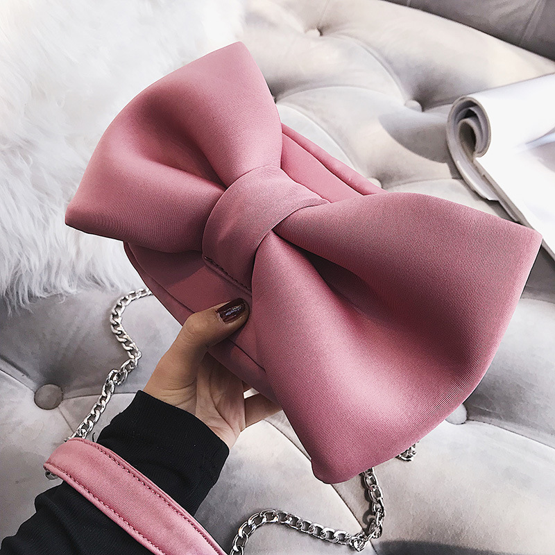 Cute Bow Women Shoudler Bags Designer Messenger Bag Sweet Chains Crossbdoy Bag Funny Lady Small Flap Female Harajuku Purses 2020