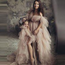 Elegante longo inchado tule mãe e me vestidos feitos sob encomenda para sessão de fotos mulheres vestidos de maternidade v pescoço fenda vestido