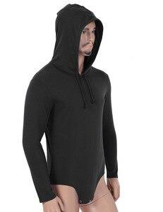 Image 3 - Mannen Een Stuk Lange Mouwen Druk Kruis Hoodie Bodysuit Romper Pyjama