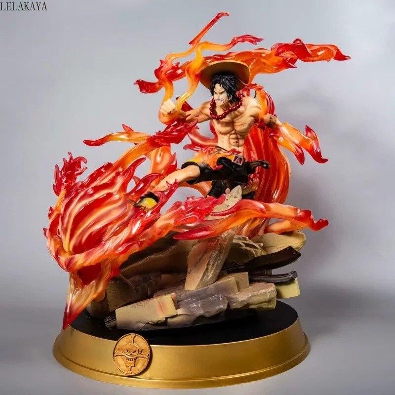 Estatua de Anime japonés de una pieza, Portgas D Ace con Fire Fist Battle Ver. GK-figura de acción de PVC, modelo de luffy Zoro, juguetes Brinquedos