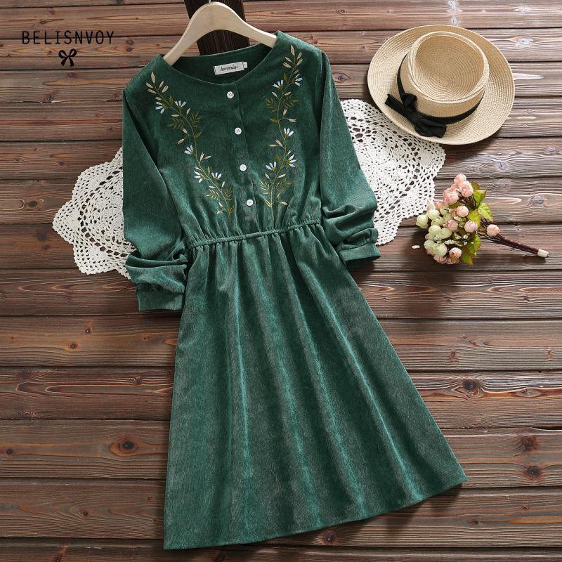 7 Styles Mori Girl Vintage Corduroy Women Shirt Dress Floral Embroidery Elegant Autumn Winter Casual Ladies Dresses Midi Dress