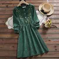 7 Styles Mori Girl Vintage Corduroy Women Shirt Dress Floral Embroidery Elegant Autumn Winter Christmas gift Dresses Midi Dress