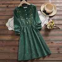 7 style styl mori girl Vintage sztruks kobiet koszula sukienka kwiatowy haft elegancka jesień zima prezent na boże narodzenie sukienki Midi sukienka