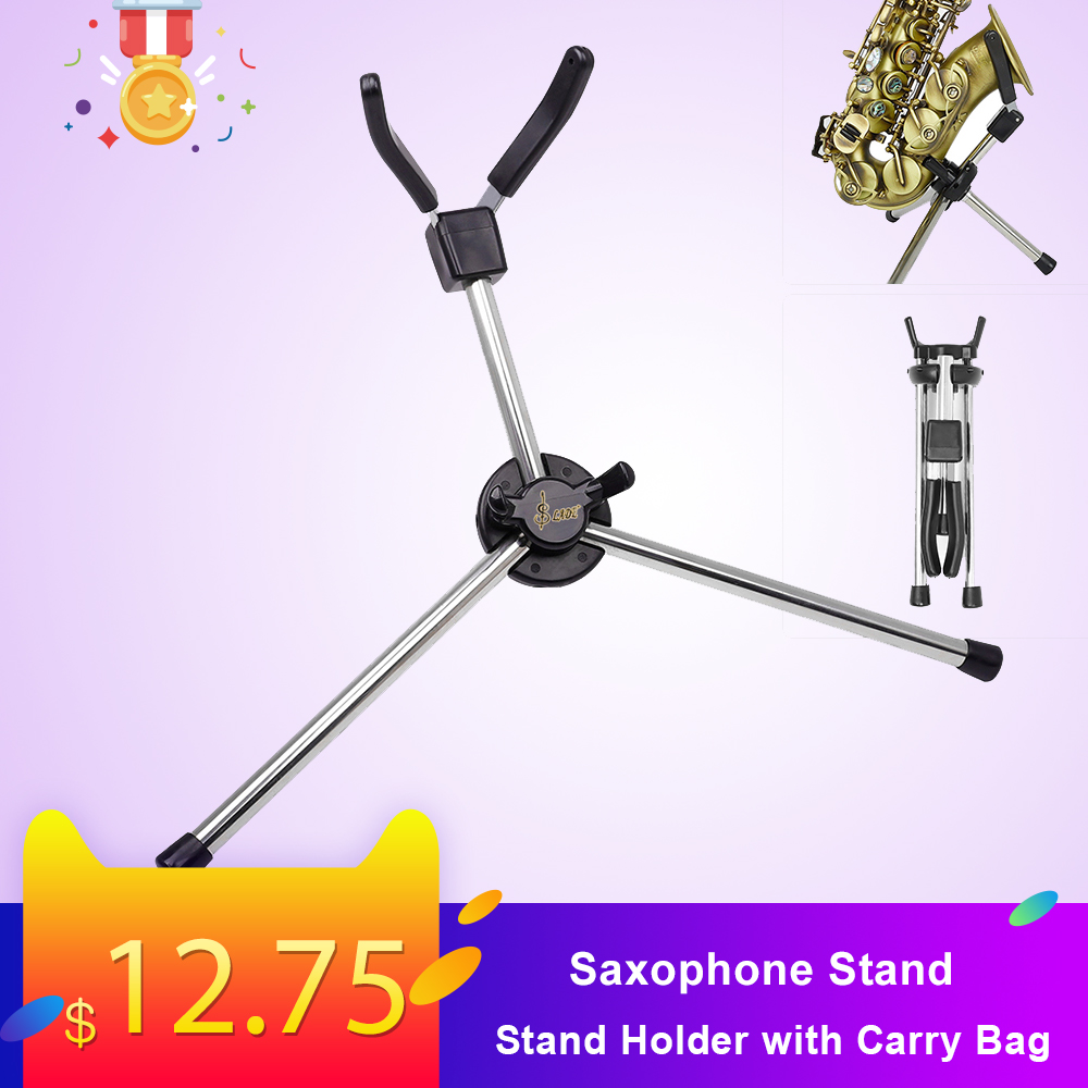 Foldable Soprano Saxophone Stand Portable Sax Metal Floor Stand Holder With Carry Bag