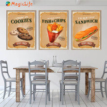 Cookies Fish Chips Sandwich Try Me Snack Bar Prints Wall Art Print Canvas Painting Wall Pictures For Kitchen Decor Unframed цена