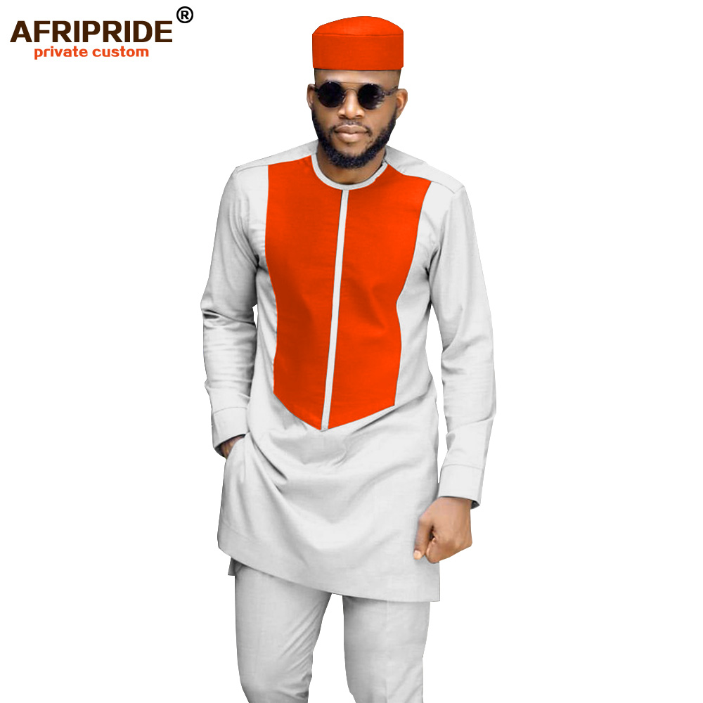 2019 African Men Traditional Clothing Set Dashiki Coat Shirt And Ankara Pants And Tribal Hat Attire Tracksuit AFRIPRIDE A1916033