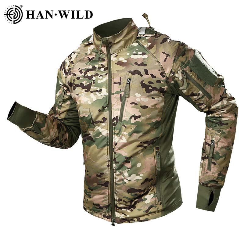 HAN WILD Men's Military Tactical Jacket Warm Windbreaker Bomber Jacket Camouflage Hooded Coat US Army Waterproof Chaqueta Hombre