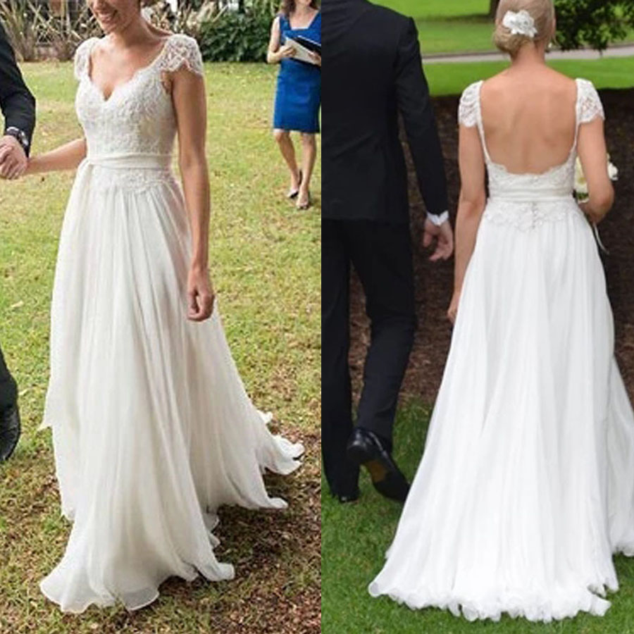 Lace V-neck Neckline Cap Sleeve Chiffon A-line Wedding Dress with Movable Belt Backless Button Bridal Dress vestido de noiva