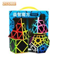 Zcube Carbon Fiber Speed Cube Bundle Pack 2x2 3x3 4x4 5x5 Magic Pyramid Skew Strange-shape Cubes Collection Set Puzzle Toys