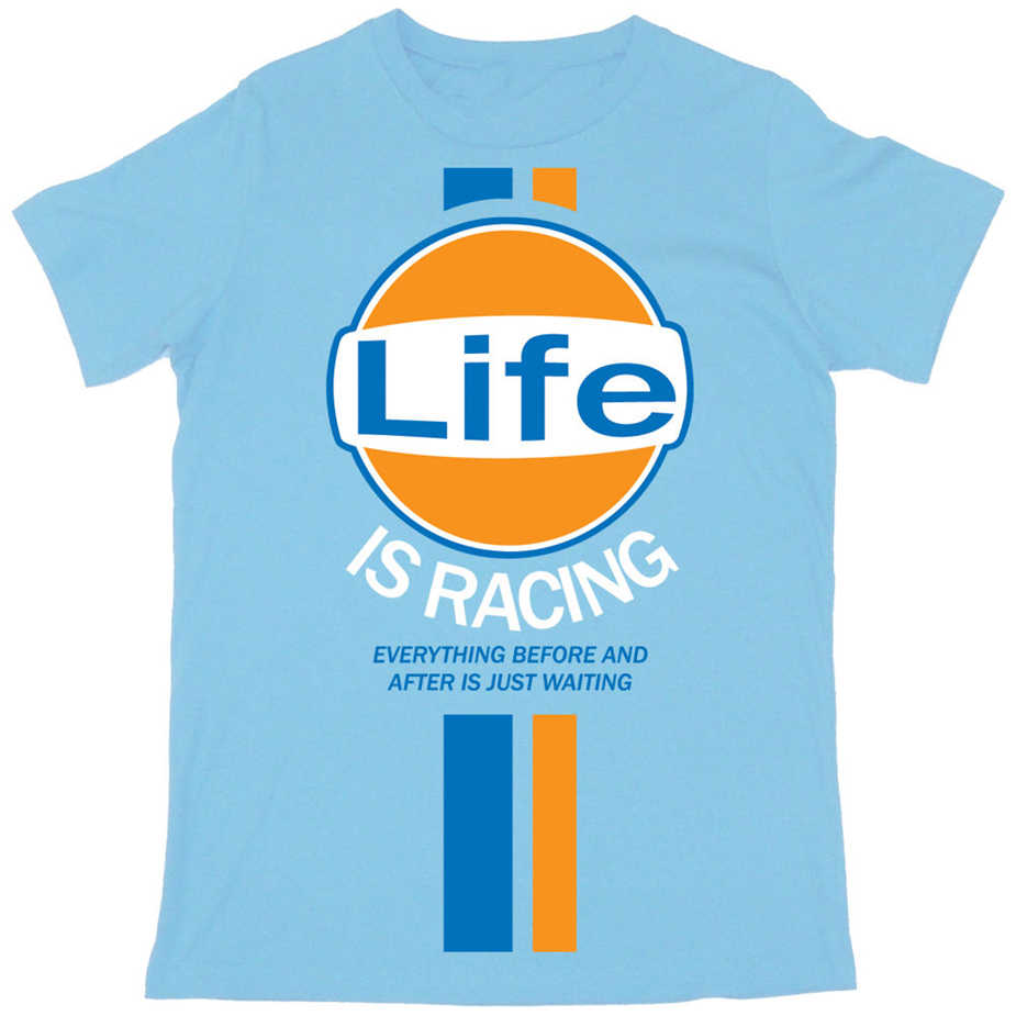 Batch1 'Life Is Racing' Mens T-Shirt-Steve Mcqueen Vintage Retro Fashion Print Gedrukt Tee Shirt