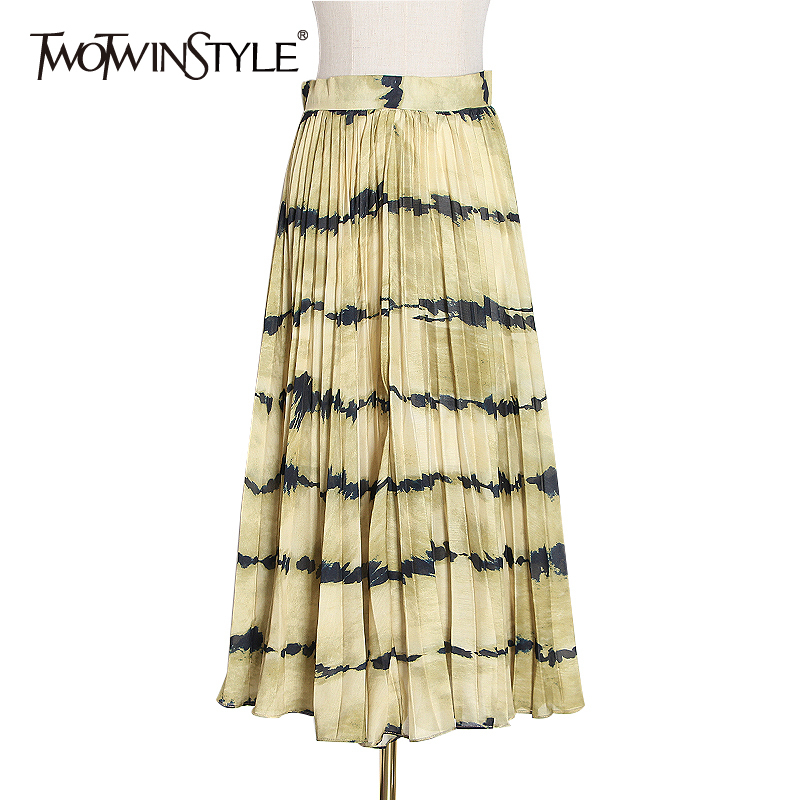 TWOTWINSTYLE Casual Print Hit Color Pleated Skirt Female High Waist Casual Striped Midi Skirts Women 2020 Clothing Fashion Tide