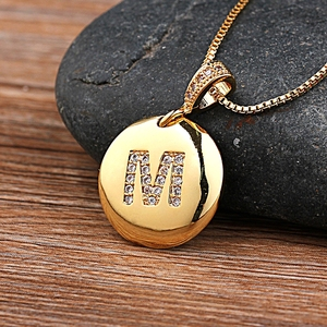 Fashion 26 Letters Pendant Necklace For Woman Girls Cute Gold Color Copper Zircon Round Necklace Fine Party Wedding Jewelry
