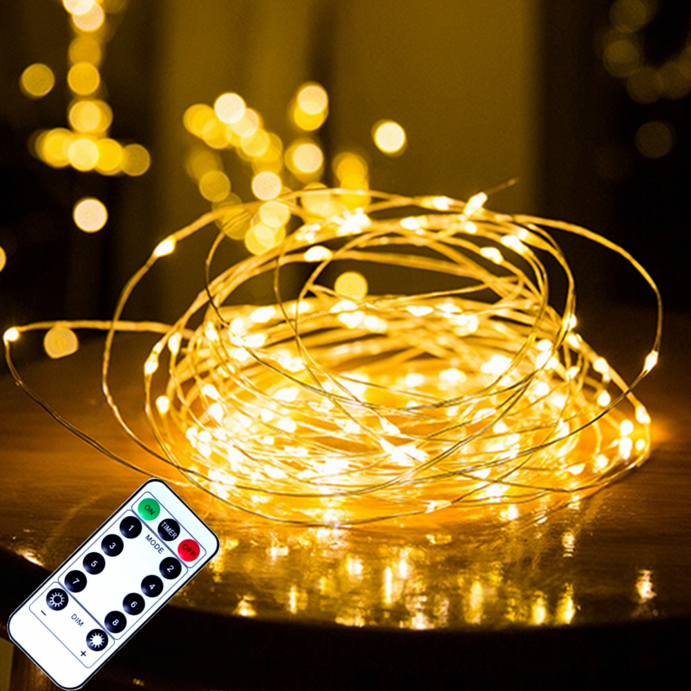 Remote Control Fairy Lights Copper Wire Timer LED String Lights Garland Christmas Decoration Lights USB Battery Powered 5/10/20M
