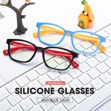 Optical-Frame Computer-Eyeglasses Anti-Blue-Light-Glasses Silicone Goggles Girls Children
