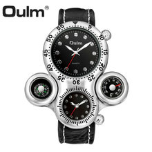 OULM Fashion Creative Quartz Watch Men 2 Time Zone Cool Black Leather Strap Casual Sports Watches for Men Oversize Male Clock women men fashion creative genuine leather bracelet watches casual quartz watch female male clock dropshipping